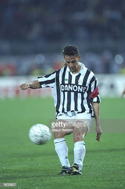 Roberto Baggio of Juventus FC in action during the UEFA Cup final second leg against Borussia Dortmund at the Delle Alpi Stadium in Turin Italy...