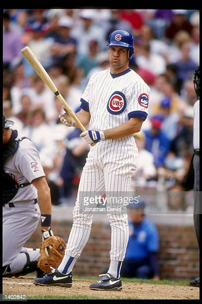 Second baseman Ryne Sandberg of the Chicago Cubs stands on the field during a game against the San Diego Padres at Wrigley Field in Chicago Illinois...