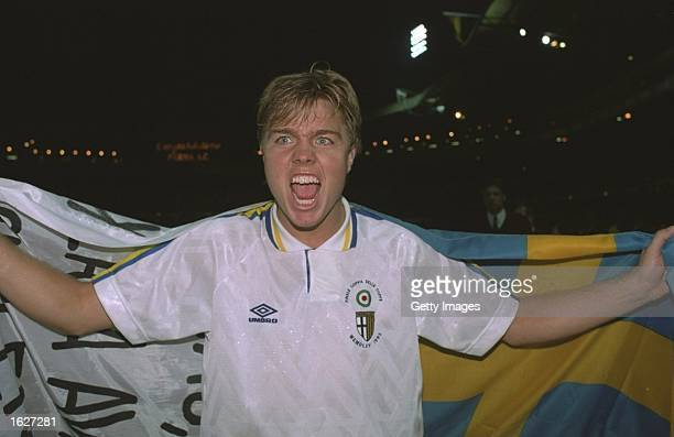 Thomas Brolin of Parma shows his delight after Parma's victory in the European Cup winners Cup Final against Antwerp at Wembley Stadium in London...