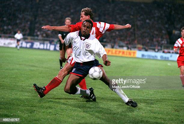 29 May 1993 World Cup Qualifier Poland v England Paul Ince of England shields the ball away from Jacek Bak of Poland