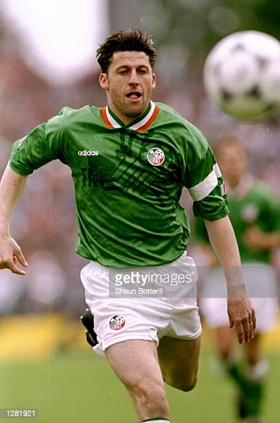 Andy Townsend of the Republic of Ireland in action during a Friendly match against Germany in Hanover Germany The Republic of Ireland won the match...