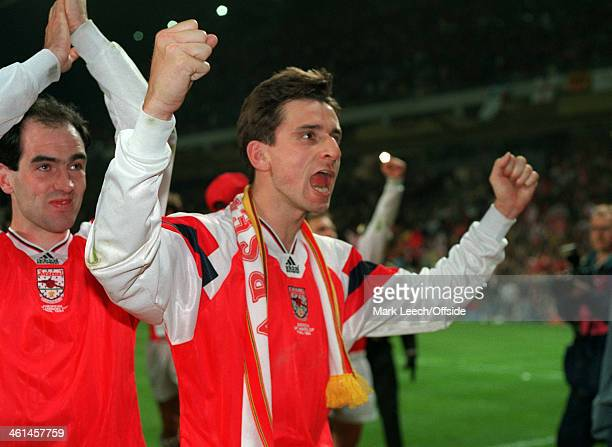 04 May 1994 European Cup Winners Cup Final Copenhagen Arsenal v Parma AC Alan Smith celebrates after winning the Cup Winners Cup