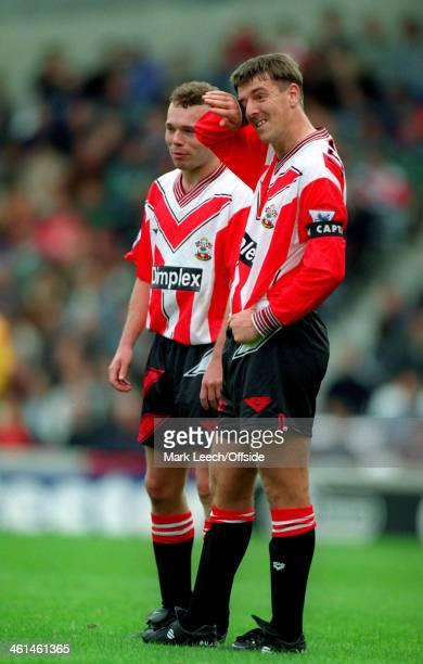 07 May 1994 FA Premiership West Ham United v Southampton Matt Le Tissier wipes his eye as he stands next to Southampton teammate Simon Charlton