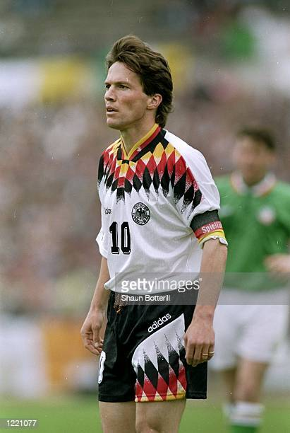 Lothar Matthaus of Germany in action during the international match against the Republic of Ireland played in Germany The Republic of Ireland won the...