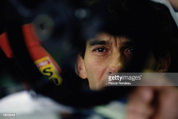 Portrait of Williams Renault driver Ayrton Senna of Brazil before the San Marino Grand Prix at the Imola circuit in San Marino Senna later suffered a...