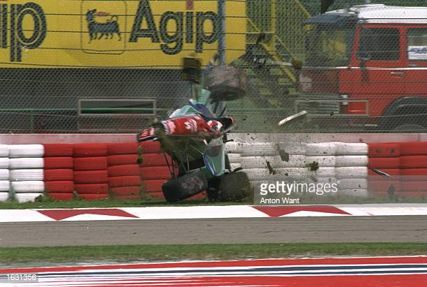 Rubens Barrichello of Brazil crashes at 160 mph in his Jordan Hart during the first official practice for the San Marino Grand Prix at the Imola...