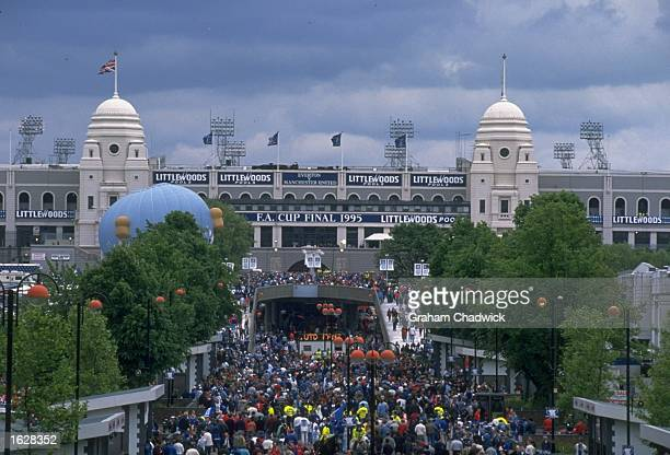 A general view of the supporters entering Wembley Stadium through the twin towers before the FA Cup Final between Manchester United and Everton at...