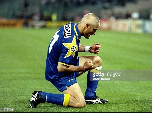 Fabrizio Ravanelli of Juventus celebrates a goal in the European Cup Final against Ajax in Rome Italy The score was 11 at full time and Juventus won...