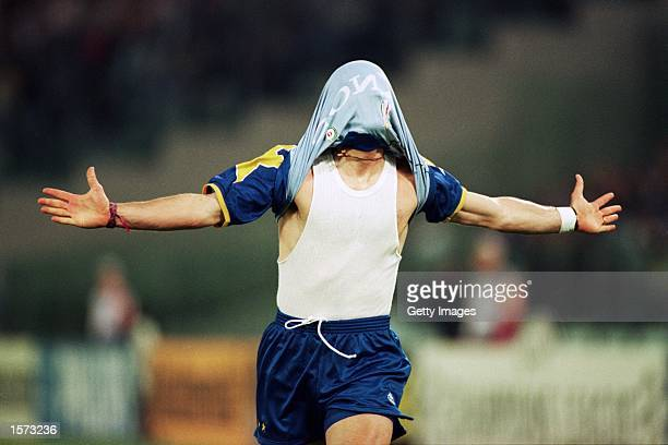 Fabrizio Ravanelli of Juventus celebrates opening the scoring during the European Cup Final against Ajax played at the Stadio Olimpico in Rome Italy...