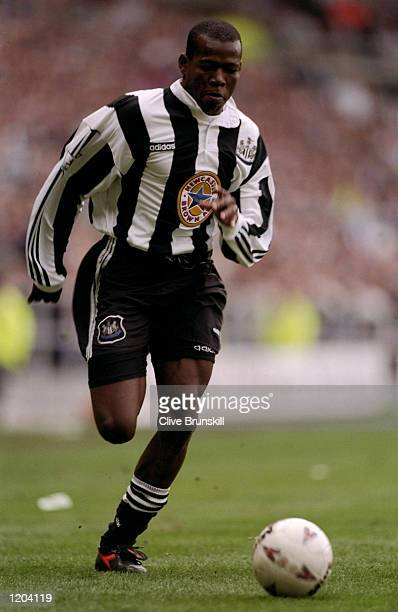 Faustino Asprilla of Newcastle United in action during an FA Carling Premiership match against Tottenham Hotspur at St James'' Park in Newcastle...
