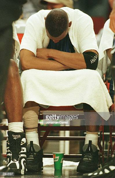 Guard Anfernee ''Penny'' Hardaway of the Orlando Magic bows his head during the final minutes of the fourth quarter in game one in the Eastern...