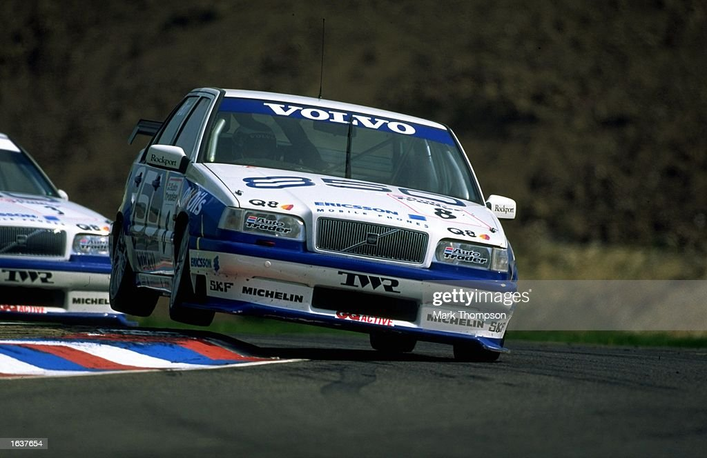 Kelvin Burt of Great Britain in action in his Volvo 850 during the British Touring Car Championships at the Thruxton circuit in Hampshire England...