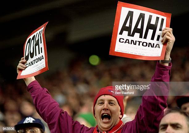 ''Ooh Aah Cantona'' sings a Manchester United fan during the FA Carling Premiership match against Middlesbrough at the Riverside Stadium in...