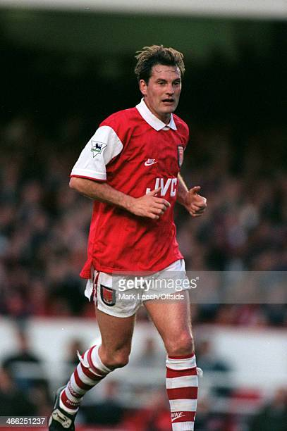 08 May 1996 Paul Merson Testimonial Arsenal XI v International XI Newly named England manager Glenn Hoddle playing in an Arsenal home kit