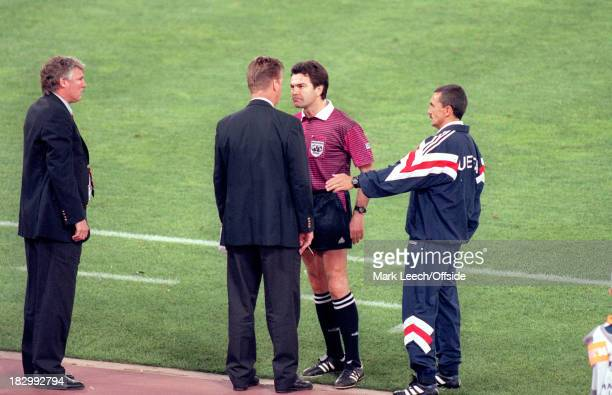 22 May 1996 UEFA Champions League Final Ajax v Juventus The referee Manuel Diaz Vega has a confrontation with Ajax manager Louis Van Gaal