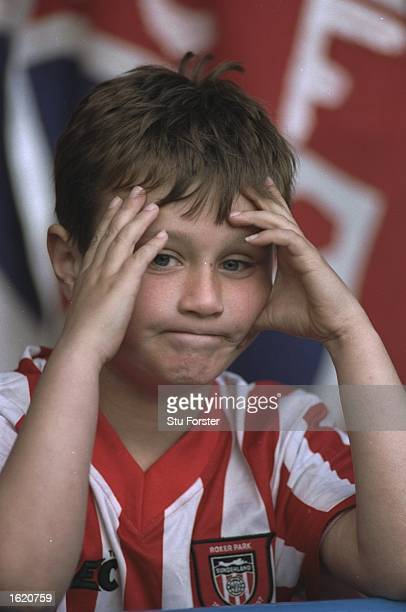 A disappointed Sunderland supporter in the stands as their team are relegated after the FA Carling Premier League match against Wimbledon at Selhurst...