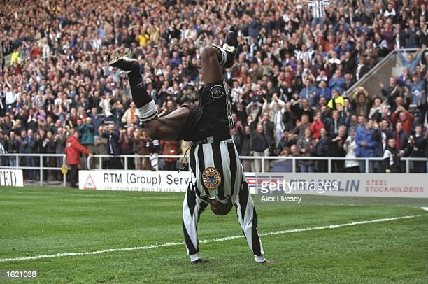 Faustino Asprilla of Newcastle celebrates a goal during the FA Carling Premier League match against Nottingham Forest at St James Park in Newcastle...