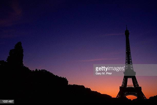General view of the Eiffel Tower at night during the French Open at Roland Garros in Paris Mandatory Credit Gary M Prior/Allsport
