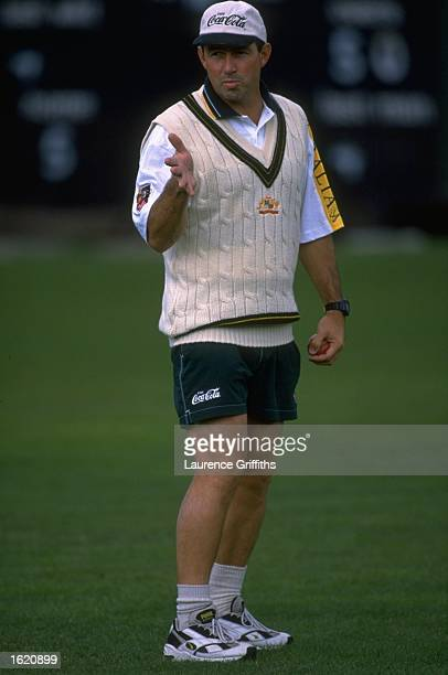 Geoff Marsh the Australian cricket coach at a training session in the cricket nets at Lords Cricket Ground in London England Mandatory Credit...