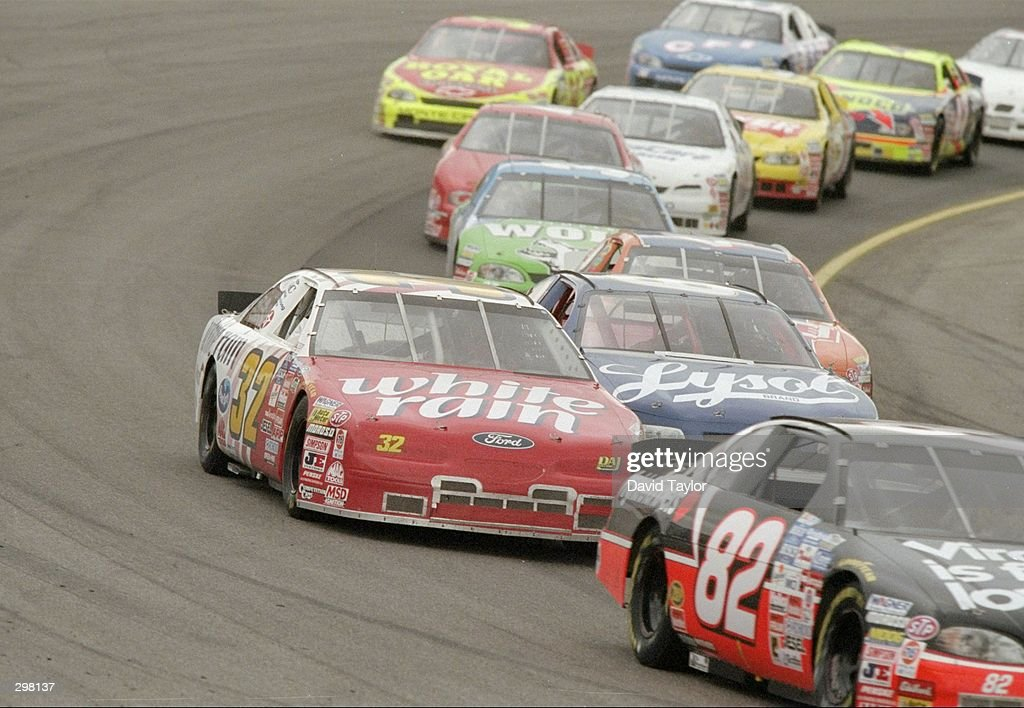 Jason Jarrett fight for position during the US Cellular 200 at the Busch Grand National New Hampshire Raceway in Loudon New Hampshire