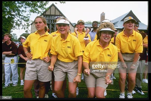 Linda Vollstedt and the Arizona State University women''s golf team celebrate before winning the NCAA women''s Division 1 Golf Championships at the...