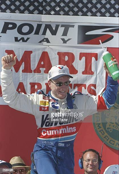 Mark Martin celebrates after winning the NASCAR Save Mart 300 at the Sears Point International Raceway in Sonoma California Mandatory Credit David...