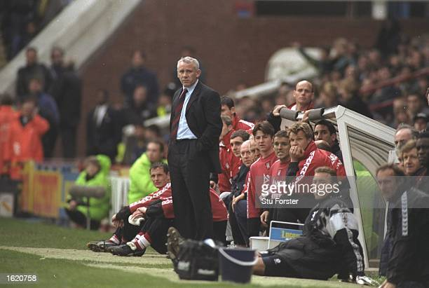 Peter Reid the Sunderland manager anxiously watches his team during the FA Carling Premier League match against Wimbledon at Selhurst Park in London...