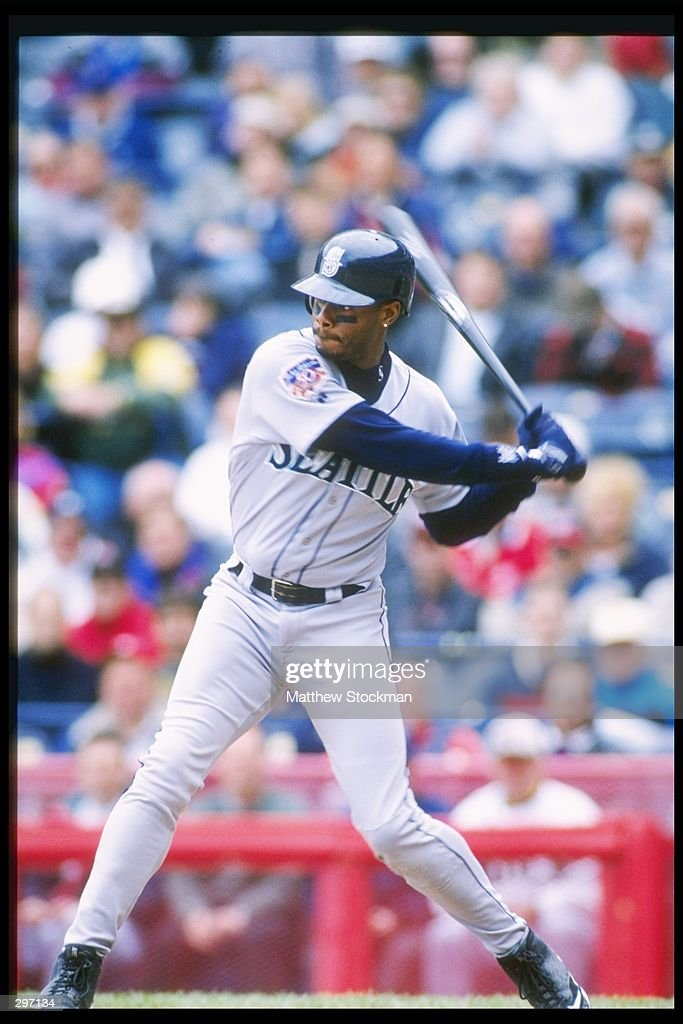 Seattle Mariners center fielder Ken Griffey Jr at the plate during game against the Milwaukee Brewers at Milwaukee County Stadium in Milwaukee...