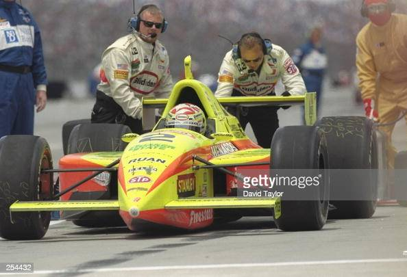 Tony Stewart has his car pushed out of the pit during the Indy 500 at the Indianapolis Speedway in Indianapolis Indiana
