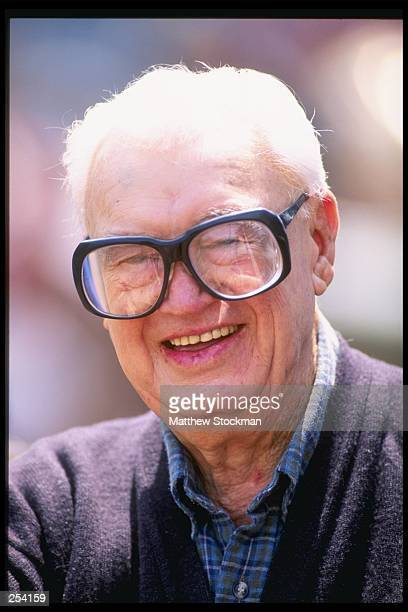 TV announcer Harry Caray relaxes during a game between the Chicago Cubs and the San Diego Padres at Wrigley Field in Chicago Illinois The Cubs won...