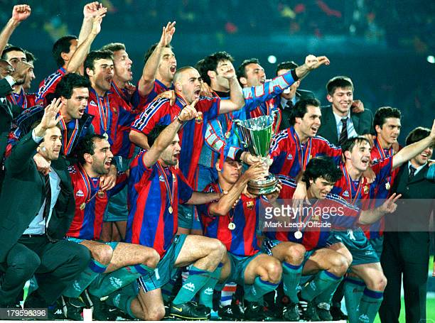 14 May 1997 UEFA European Cup Winners Cup Final Barcelona v Paris Saint Germain Barcelona celebrate victory with Jose Mourinho cheering Ronaldo...