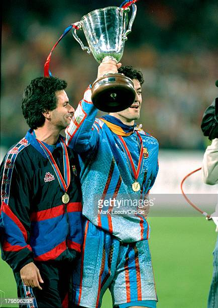 14 May 1997 UEFA European Cup Winners Cup Final Barcelona v Paris Saint Germain Barcelona assistant coach Jose Mourinho puts an arm around goalkeeper...