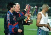 14 May 1997 UEFA European Cup Winners Cup Final Barcelona v Paris Saint Germain Barcelona assistant coach Jose Mourinho has the cup taken from him by...