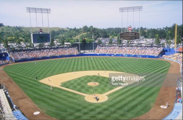 A general view of Dodger Stadium in Los Angeles California during a game against the Cincinnati Reds The Reds defeated the Dodgers 65 Mandatory...