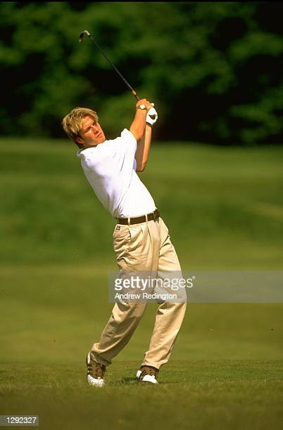 David Beckham of England enjoys a day on the golf course at Mill Ride GC in Ascot England Mandatory Credit Andrew Redington /Allsport