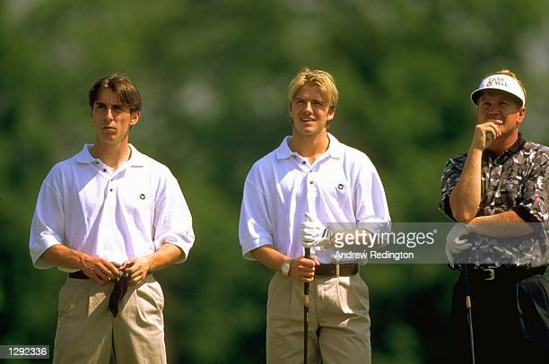 England Internationals Gary Neville and David Beckham enjoy a day on the golf course with Paul Broadhurst at Mill Ride GC in Ascot England Mandatory...