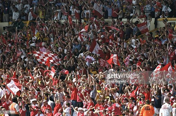 General view of the Arsenal fans during the FA Cup final against Newcastle United at Wembley Stadium in London Arsenal won the match 20 Mandatory...