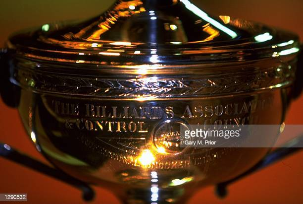 General view of the World Championship trophy during the World Snooker Championships at the Crucible Theatre in Sheffield England Mandatory Credit...