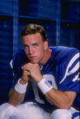 Peyton Manning of the Indianapolis Colts poses for a portrait during the Pinnacle NFL Rookie Shoot at the Citrus Bowl in Orlando Florida Mandatory...