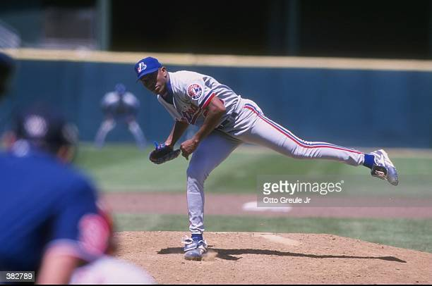 Pitcher Carlos Perez of the Montreal Expos in action during a game against the San Francisco Giants at 3Com Park in San Francisco California The...