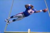 Robert Edwards of the New England Patriots in action during the Pinnacle NFL Rookie Shoot at the Citrus Bowl in Orlando Florida Mandatory Credit Mike...