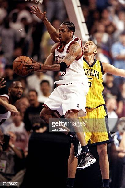 Allen Iverson of the Portland Trailblazers jumps with the ball during game four of the NBA Eastern Conference Semifinals against the Philladelphia...