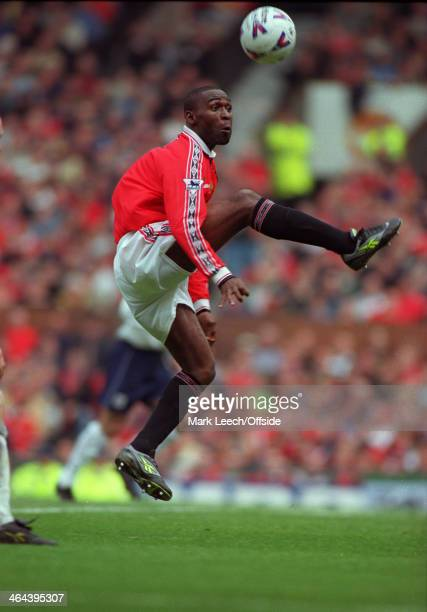 16 May 1999 Carling Premiership Manchester United v Tottenham Hotspur Andrew Cole of Manchester United prepares to control the ball in mid air