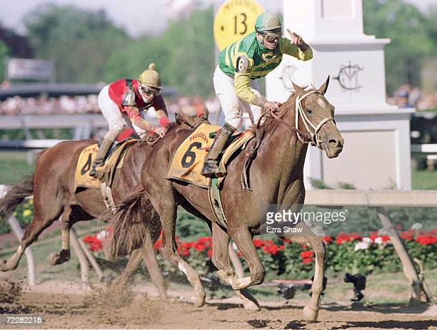 Charismatic wins the 124th Preakness and leads Badge across the finish line at Pimlico Race Track in Baltimore Maryland