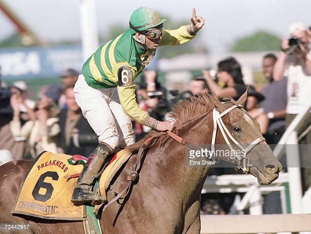 Charismatic with Chris Antley up crosses the finish line to win the 124th Preakness at Pimlico Race Track in Baltimore Maryland Mandatory Credit Ezra...