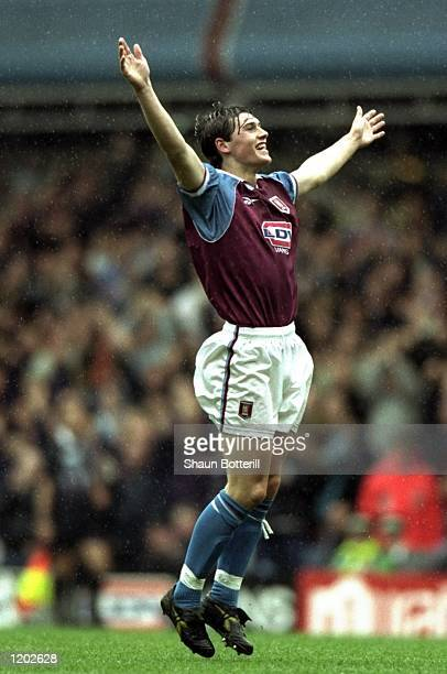 Gareth Barry of Aston Villa celebrates his goal during the FA Carling Premiership match against Charlton Athletic played at Villa Park in Birmingham...