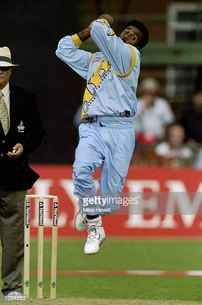 Javagal Srinath of India is bowls during the Cricket World Cup Group A match against Zimbabwe played in Leicester England Zimbabwe won the game by 3...