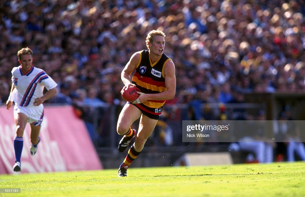 Kane Johnson of the Adelaide Crows in action during the Round 6 AFL Football match against Port Adelaide played at Football Park in Adelaide, Australia. \ Mandatory Credit: Nick Wilson /Allsport