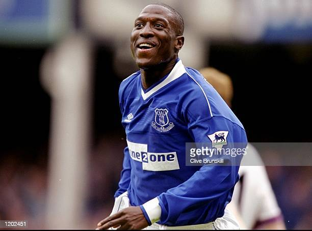 Kevin Campbell of Everton celebrates one of his three goals in the FA Carling Premiership match against West Ham United at Goodison Park in Liverpool...