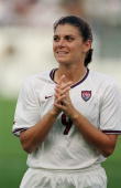 Mia Hamm of Team USA looks on the field during a game against Team Brazil at the Citrus Bowl in Orlando Florida The Team USA defeated Team Brazil 30...